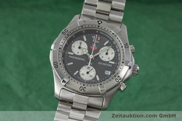 Used luxury watch Tag Heuer Professional chronograph steel quartz Kal. 4.98 ETA 251262  | 152256 04