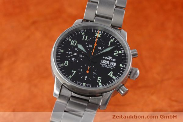 Used luxury watch Fortis Flieger Chronograph chronograph steel automatic Kal. ETA 7750 Ref. 597.10.141  | 152589 04