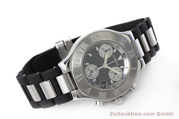 Used luxury watch Cartier Chronoscaph 21 chronograph steel quartz Kal. ETA 251.272 Ref. 2424  | 152652 03