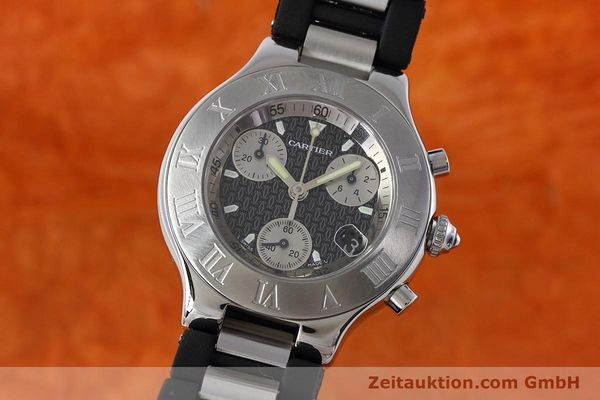 Used luxury watch Cartier Chronoscaph 21 chronograph steel quartz Kal. ETA 251.272 Ref. 2424  | 152652 04