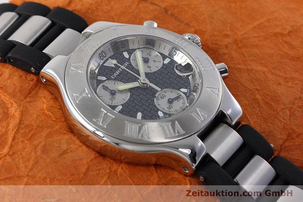 Used luxury watch Cartier Chronoscaph 21 chronograph steel quartz Kal. ETA 251.272 Ref. 2424  | 152652 13