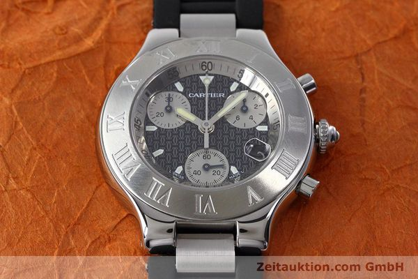 Used luxury watch Cartier Chronoscaph 21 chronograph steel quartz Kal. ETA 251.272 Ref. 2424  | 152652 14