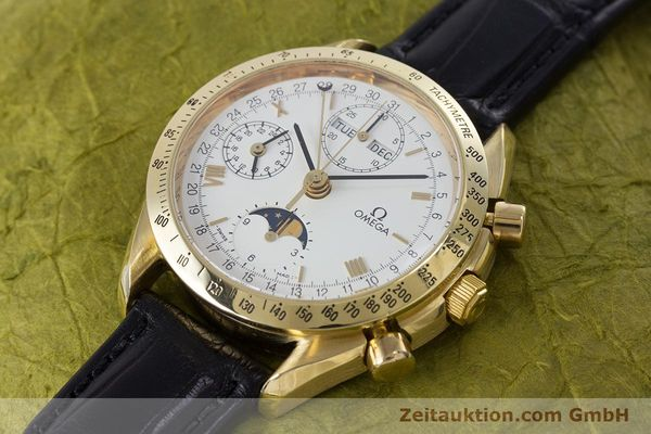 Used luxury watch Omega Speedmaster chronograph 18 ct gold automatic Kal. 1150 Val. 7751  | 153162 01