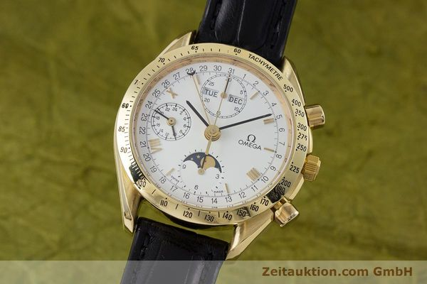 Used luxury watch Omega Speedmaster chronograph 18 ct gold automatic Kal. 1150 Val. 7751  | 153162 04