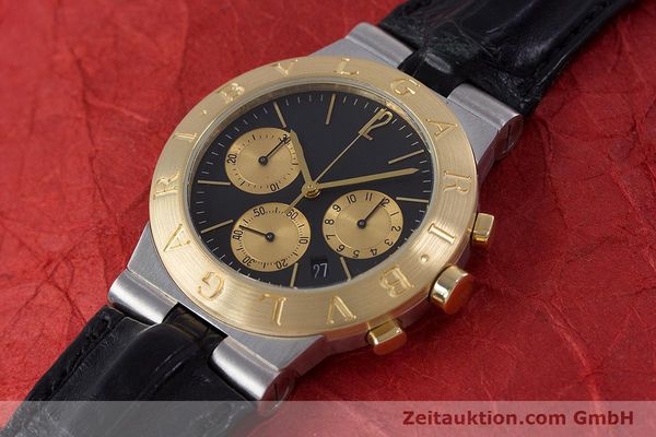 Used luxury watch Bvlgari Diagono chronograph steel / gold quartz Kal. 1270 MBBI Ref. CH35SG  | 153289 01