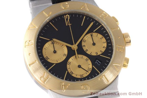 Used luxury watch Bvlgari Diagono chronograph steel / gold quartz Kal. 1270 MBBI Ref. CH35SG  | 153289 02