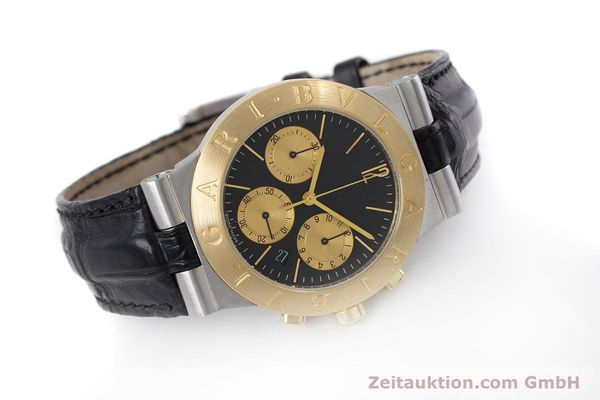 Used luxury watch Bvlgari Diagono chronograph steel / gold quartz Kal. 1270 MBBI Ref. CH35SG  | 153289 03