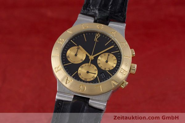 Used luxury watch Bvlgari Diagono chronograph steel / gold quartz Kal. 1270 MBBI Ref. CH35SG  | 153289 04