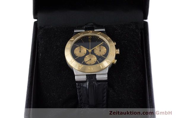 Used luxury watch Bvlgari Diagono chronograph steel / gold quartz Kal. 1270 MBBI Ref. CH35SG  | 153289 07