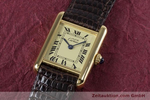 Used luxury watch Cartier Tank silver-gilt quartz Kal. 057.06  | 153447 01