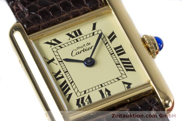 Used luxury watch Cartier Tank silver-gilt quartz Kal. 057.06  | 153447 02