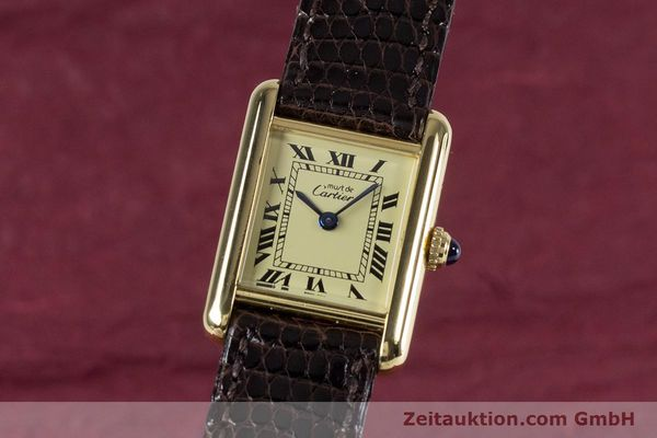 Used luxury watch Cartier Tank silver-gilt quartz Kal. 057.06  | 153447 04