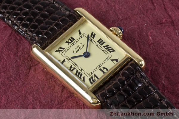 Used luxury watch Cartier Tank silver-gilt quartz Kal. 057.06  | 153447 12