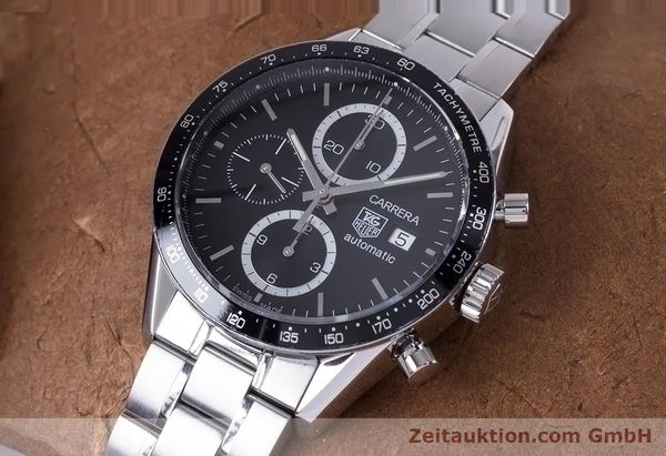 Used luxury watch Tag Heuer Carrera chronograph steel automatic Kal. 16 ETA 7750 Ref. CV2010-3  | 153584 01
