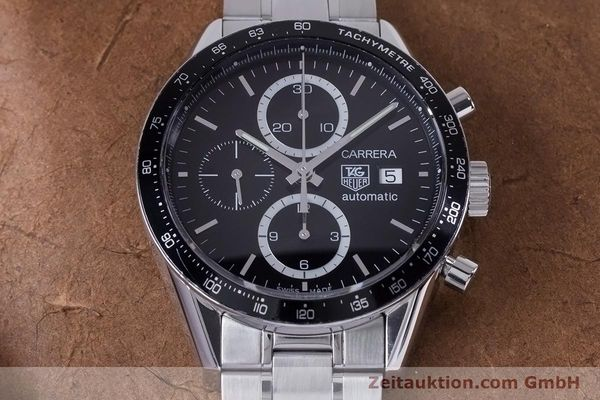 Used luxury watch Tag Heuer Carrera chronograph steel automatic Kal. 16 ETA 7750 Ref. CV2010-3  | 153584 16