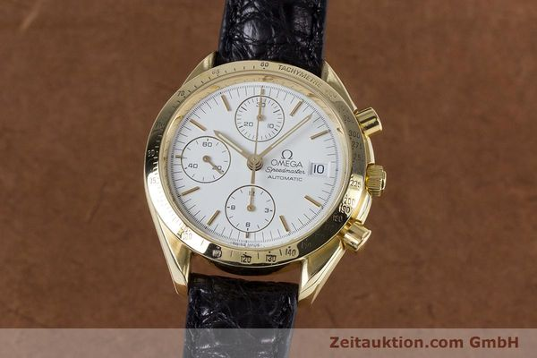 Used luxury watch Omega Speedmaster chronograph 18 ct gold automatic Kal. 1150 Valj. 7751  | 153711 04