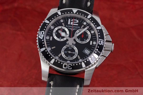Used luxury watch Longines Hydro Conquest chronograph steel quartz Kal. L541.2 ETA 251.262 Ref. L3.643.4  | 160115 04