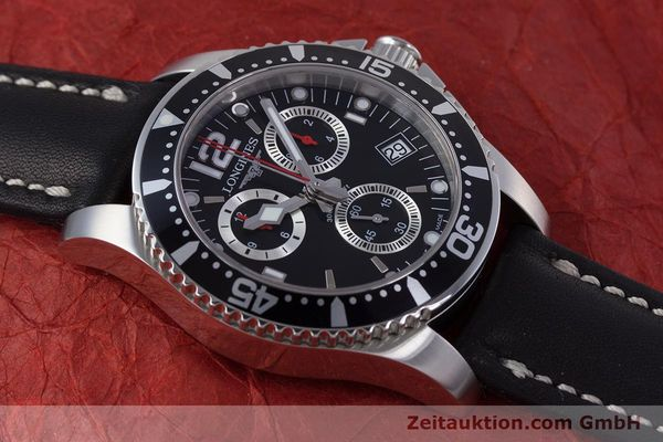 Used luxury watch Longines Hydro Conquest chronograph steel quartz Kal. L541.2 ETA 251.262 Ref. L3.643.4  | 160115 12