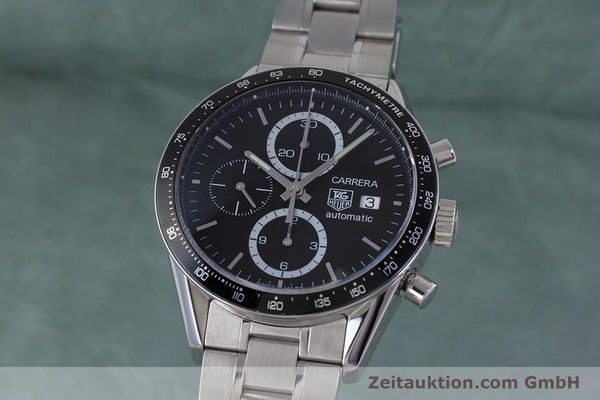 Used luxury watch Tag Heuer Carrera chronograph steel automatic Kal. TH 16 ETA 7750 Ref. CV2010-3  | 160192 04