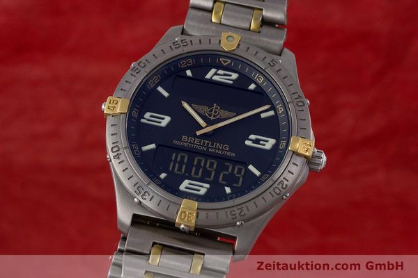 Used luxury watch Breitling Aerospace chronograph titanium / gold quartz Kal. B65 ETA E10391 Ref. F65062  | 160193 04