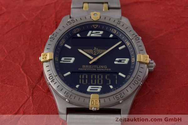 Used luxury watch Breitling Aerospace chronograph titanium / gold quartz Kal. B65 ETA E10391 Ref. F65062  | 160193 15