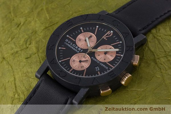 Used luxury watch Bvlgari Porto Cervo chronograph carbon / gold quartz Kal. ETA 251.471 Ref. BB38CL CH  | 160239 01