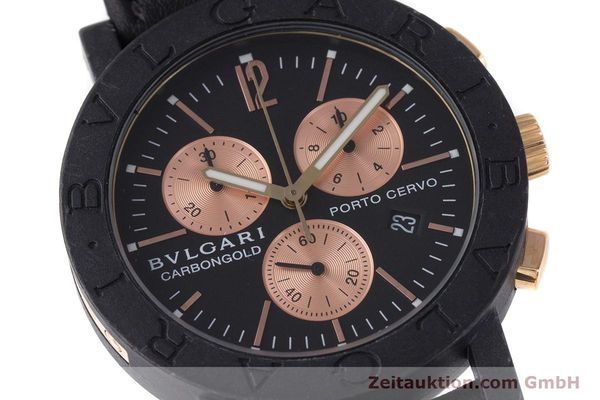 Used luxury watch Bvlgari Porto Cervo chronograph carbon / gold quartz Kal. ETA 251.471 Ref. BB38CL CH  | 160239 02