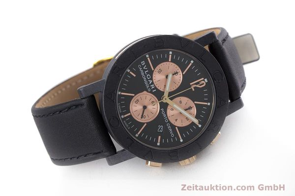 Used luxury watch Bvlgari Porto Cervo chronograph carbon / gold quartz Kal. ETA 251.471 Ref. BB38CL CH  | 160239 03