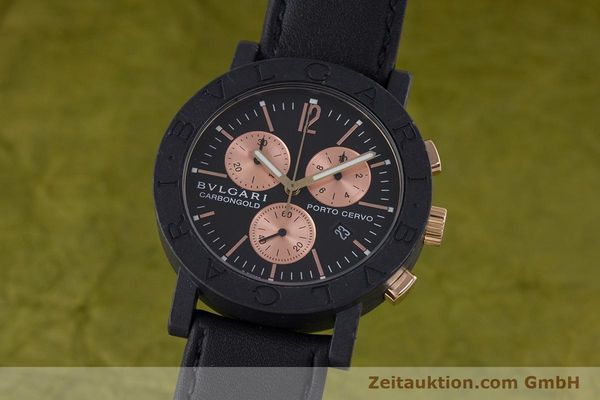 Used luxury watch Bvlgari Porto Cervo chronograph carbon / gold quartz Kal. ETA 251.471 Ref. BB38CL CH  | 160239 04