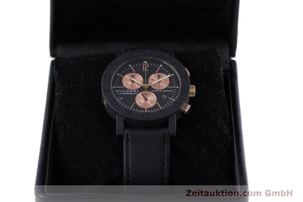 Used luxury watch Bvlgari Porto Cervo chronograph carbon / gold quartz Kal. ETA 251.471 Ref. BB38CL CH  | 160239 07