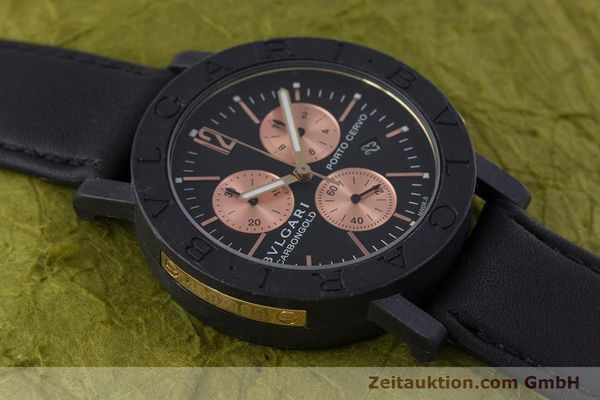 Used luxury watch Bvlgari Porto Cervo chronograph carbon / gold quartz Kal. ETA 251.471 Ref. BB38CL CH  | 160239 12