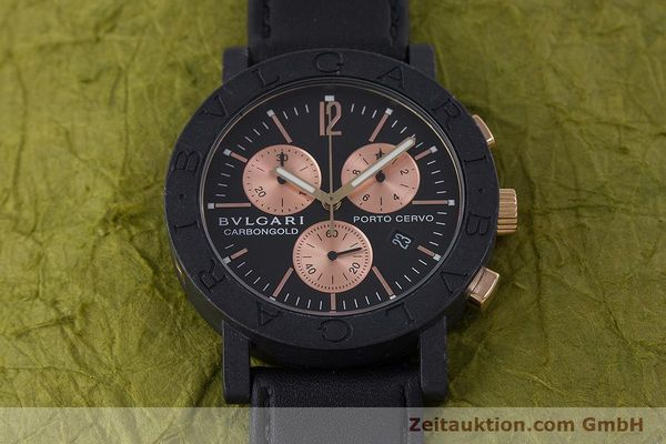 Used luxury watch Bvlgari Porto Cervo chronograph carbon / gold quartz Kal. ETA 251.471 Ref. BB38CL CH  | 160239 13