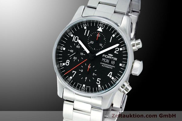 Used luxury watch Fortis Flieger Chronograph chronograph steel automatic Kal. ETA 7750 Ref. 597.22.11M  | 900015 04